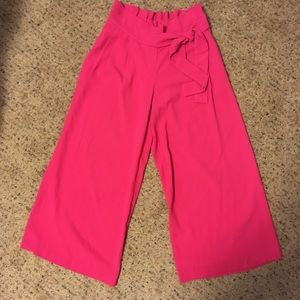 Pants - Bright pink paper bag waist flowy cullote pants